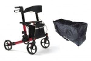 FabaCare Rollator Quava, Leichtgewichtrollator, faltbar, Rot mit Tasche