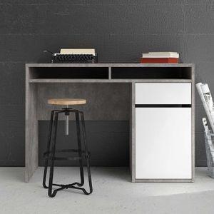 Function Plus Schreibtisch Oxid Beton / Weiß Hochglanz