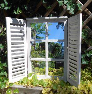 Wunderschöner Wandspiegel Fensterläden Landhaus creme Shabby-Chic 59cm