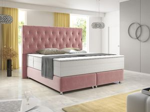Boxspringbett Diamond 180x200 cm Rosa Piggy 13 Velour Stoff
