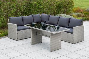 """Merxx Gartenmöbelset """"Lanzarote"""" mit Sessel - Stahlgestell mit Kunststoffgeflecht grau - 50463-209"""