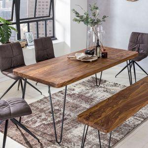 WOHNLING Esstisch BAGLI Massivholz Sheesham 120 cm Esszimmer-Tisch Holztisch Metallbeine Küchentisch Landhaus dunkel-braun