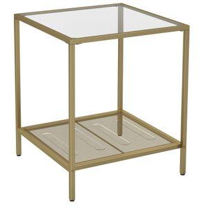 VASAGLE Beistelltisch, Couchtisch mit 2 Ebenen, aus Hartglas, stabil, mit Metallgestell, Gitterablage, für Wohnzimmer, Schlafzimmer, Gold-Transparent LGT030A01
