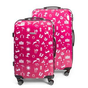 MasterGear Design Koffer Set 2 tlg in magenta pink / rot, Größe: M & L, Reisekoffer 4 Rollen (360 Grad), Trolley mit Sommer Symbolen, Kofferset, Hartschalenkoffer, ABS Koffer mit Zahlenschloss, stapelbar