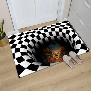 Wohnzimmer-Fußmatte, Wohnzimmer-Clown-Besenmatte, 3D rechteckiger schwarz-weißer Gitterteppich, geeignet für Schlafzimmer, Halloween,40*60cm