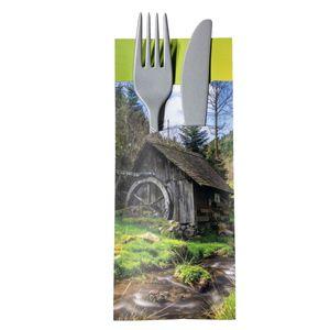 30 Bestecktaschen mit Serviette Wasser-Mühle 20 cm