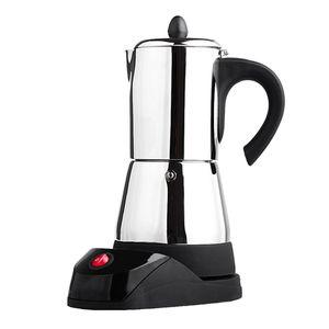 400-480 W Elektrische Espressomaschine aus Edelstahl Silber 6 Tasse