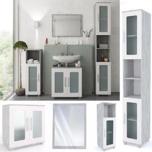 Vicco Badmöbel Set RAYK Weiß / Grau Beton verglast - Badezimmer Spiegel Waschtisch Unterschrank Bad Badschrank