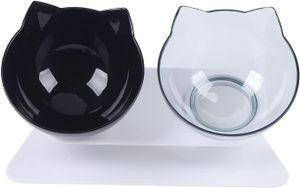 Schwarz+Transparent 15° Geneigt Fressnäpfe für Katzenfutter, φ13cm Katzennapf Hundenapf mit rutschfeste Basis, Futterschüssel Doppelschüssel für Katzen kleine Hunde Nacken Belastung Reduzieren