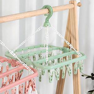 Wäsche Trocknen Rack mit 32 Clips, Kunststoff Drip Aufhänger mit Wäscheklammern für Trocknen Socken, Bhs, under BabyClothes und so auf Clother Mittel Grün Wäschetrockner Clip Tropf Wäschehänger