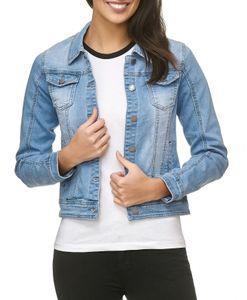 Damen Jeans Jacke Basic Denim Übergangsjacke Used Kurz D1795, Größen:L, Farben:Himmelblau