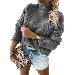 Damen Winter Langarm-Strick-T-Shirt Europäische und amerikanische Mode-Sweatshirts,Farbe: Grau,Größe:XL