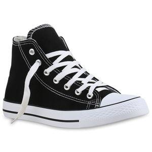 Mytrendshoe Damen Sneakers High Top Sportschuhe Stoffschuhe Freizeit Schuhe 816487, Farbe: Schwarz, Größe: 38