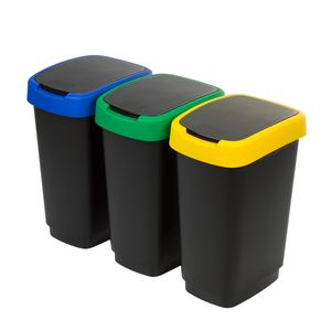 3er-Set Abfalleimer Mülltrennug 3x25L Rotho Twist Abfallbehälter Mülleimer Recycling