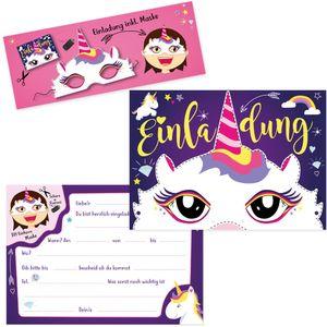 Oblique Unique 6 Einladungskarten Kindergeburtstag Einhorn Party mit Einhorn Masken