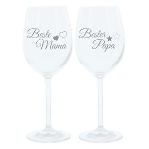 Leonardo Weinglas 400 ml, 2er Set, Beste Mama, Bester Papa, Stimmungsglas mit lustiger Gravur, Moodglas, 22 cm