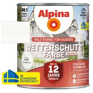 Alpina Wetterschutzfarbe deckend Holzfarbe Weiß seidenglänzend, 2,5 Liter