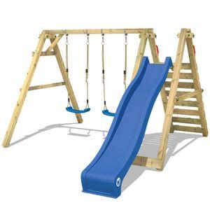 WICKEY Kinderschaukel Schaukelgestell Sky Streamer Prime mit blauer Rutsche Schaukel, Schaukelgerüst, Doppelschaukel, Holzschaukel