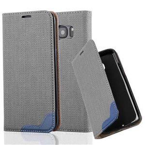 Cadorabo Hülle für Samsung Galaxy S7 EDGE - Hülle in GRAU BLAU - Handyhülle in Bast-Optik mit Kartenfach und Standfunktion - Case Cover Schutzhülle Etui Tasche Book Klapp Style