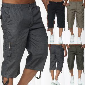 Max Men Herren Bermuda Cargo Shorts Kurze 3/4 Freizeit Hose Leichte Gummibund Schlupfhose, Farben:Beige, Größe Shorts:XL