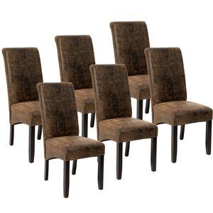 tectake 6 Esszimmerstühle, ergonomisch, massives Hartholz - antikbraun