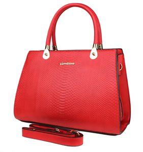 Damen Vintage Tasche Groß - 50er Jahre Retro Kroko-Optik Henkeltasche Rot Handtasche Shopper Rockabilly Elegant Leder-Optik