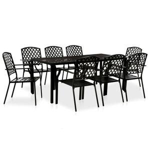 Gartenmöbel Essgruppe 8 Personen ,9-TLG. Terrassenmöbel Balkonset Sitzgruppe: Tisch mit 8 Stühle Stahl Schwarz❀5964