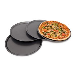 relaxdays Pizzablech rund 4er Set