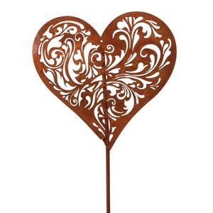 Gartenstecker Herz mit Rankenornament 3 Stück Metallstecker Dekostecker
