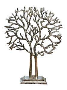 Schmuckbaum Schmuckständer Schmuckhalter Dekobaum Aluminium Silber 38 cm