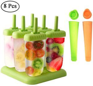 Eisformen, 6 Stück EIS am Stiel und 2 Stück Eislutscher Popsicle Formen Set für Kinder und Erwachsene, Grün, Orange