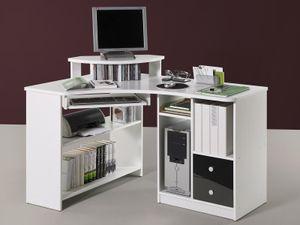 """Eck-Schreibtisch Bürotisch Computertisch Winkelschreibtisch Büromöbel """"Marcel I"""" Weiß/Schwarz"""