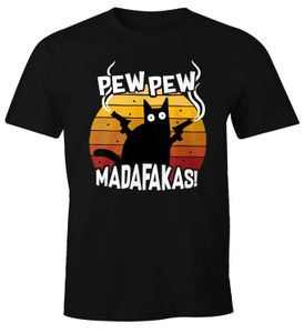 Herren T-Shirt Pew Pew Madafakas Katze Western Cat Meme Fun-Shirt Spruch lustig Moonworks® schwarz XL