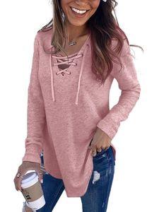 Lässiges Damen-Sweatshirt mit lockerem, langärmeligem T-Shirt mit V-Ausschnitt,Farbe: Pink,Größe:L