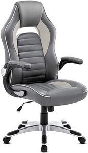 Intimate WM Heart Gaming-Stuhl, Ergonomischer Gaming Stuhl, Hochverstellbarer Computerstuhl, Bürostuhl aus Kunstleder 360 Grad drehbar, Schreibtischstuhl, Grau