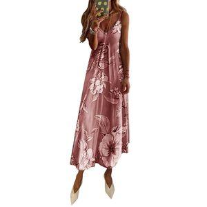 Damen Ärmelloses Kleid mit unregelmäßigen Blumenmotiven Sommer Böhmen Maxi Lange Kleider, Rosa, L