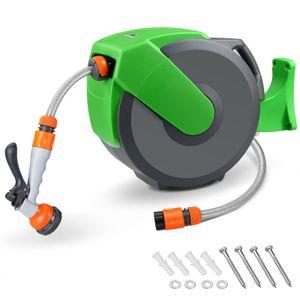 Schlauchtrommel 20m + 2m Schlauchaufroller Automatik Wasser 180 Grad Schwenkbar Gartenschlauch Multi - Handbrause
