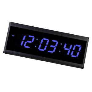 LED Digital Wanduhr Große Anzeige Uhr für Wohnzimmer Büro Blau wie beschrieben