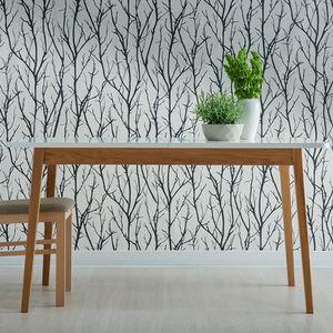 Selsey Esstisch VENEER - Küchentisch in Weiß / Eiche - ausziehbar 140-180x80 cm - rechteckig mit Holzbeinen