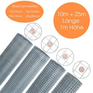 Volierendraht 4-Eck Maschendraht 1,0 x 10m 12x12 mm Gartenzaun Zaun verzinkt