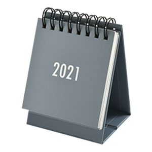 2021 Einfarbiger Mini-Tischkalender Monatlich stehender Metallspulen-Kalender Tischplaner fuer Home Office School-Grey