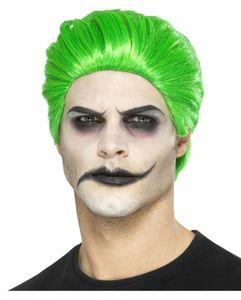 Grüne Trickster Herrenperücke für Fasching & Halloween