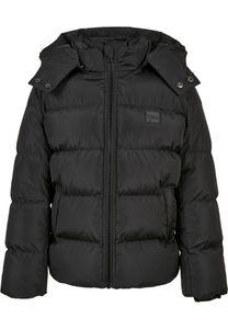 Urban Classics UCK1807  Boys Hooded Puffer Jacket, Größe:158/164, Farbe:Black