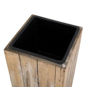 Greemotion Pflanzsäule aus recyceltem Kiefernholz, 43,5 x 43,5 x H115 cm, herausnehmbarer Einsatz, Blumentopf, in-/outdoorgeeignet, naturfarben