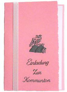 10 x Einladung Einladungskarte Kommunion Einladungen KK014 (rosa)