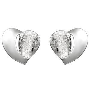JOBO Ohrstecker Herz 925 Sterling Silber eismatt Ohrringe Silberohrringe