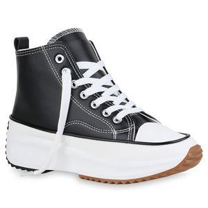 Giralin Damen Sneaker High Keilabsatz Schnürer Profil-Sohle Schuhe 836547, Farbe: Schwarz, Größe: 38