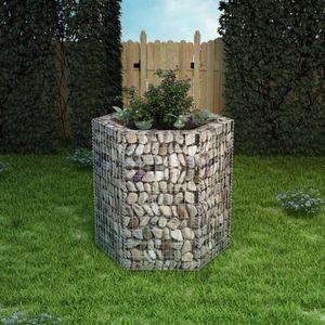 Sechseckiges Gabionen-Hochbeet Garten-Hochbeet Hochbeet 100×90×100 cm