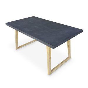 Gartentisch aus Faserzement 160 cm, U-förmiger Holzfuß - BORNEO - 4 Personen, Akazienbeine, graue Platte