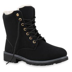Mytrendshoe Warm Gefütterte Worker Boots Damen Outdoor Stiefeletten Robust 814346, Farbe: Schwarz, Größe: 39
